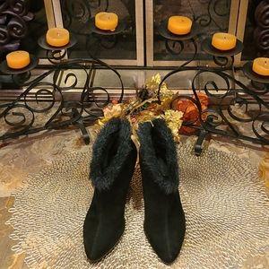 Aerosoles Faux Fur Booties (Black)